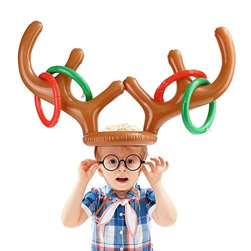 Toss Spiel ,Ringwurfspiel , Aufblasbare Ring, lustige Sport Spielzeug für Weihnachten Kinder Party ,Kindergeburtstag Aufblasbar Innen und Draussen (Rentier Geweih)