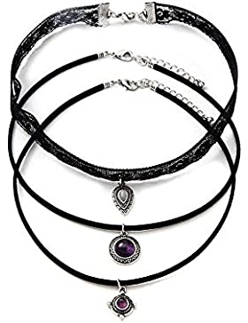 Trendsme 3 in 1 schwarzer Kuhleder-Choker-purpurroter Edelstein-hängender Spitze-Halsketten-Anhänger Retro- Hippie