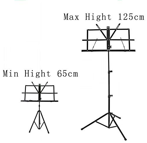 High Quality Music Sheet Holder Folding Metal Stand Adjustable Height 65cm - 125cm with Carry Case Bag