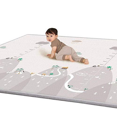 Krabbelmatte, Spielmatte XXXL mit Tier Doppelseitige Wasserdichte Kinderteppich Zusammenfaltbare Baby Gym, 200 * 180 * 1cm (grau) (Gym Baby)