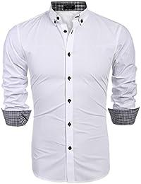 079e5906b9318 Coofandy Hombre Camisa Casual a Cuadros de Diamantes Manga Larga con Botones