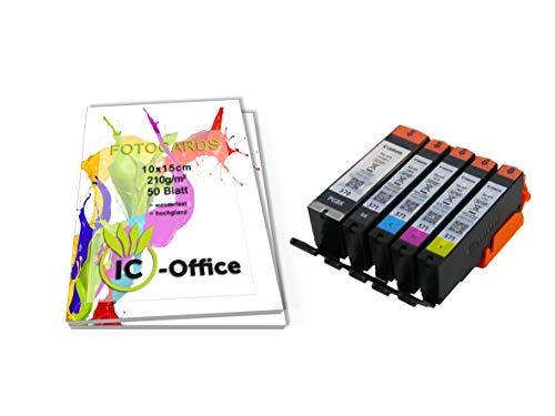 Canon pgi570 cli571 pgi-570 cli-571 - set di 5 cartucce d'inchiostro originali per stampanti pixma con 100 fogli di carta fotografica ic-office da 10 x 15 cm, colore bianco lucido