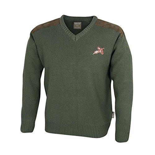 Jack Pyke Grün V-Ausschnitt Schießen Pulli mit bestickt FASAN MOTIV & Schulter Aufnäher - Grün, XL (Pullover Jack Bestickte)