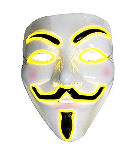 Inception Pro Infinite Maske für Kostüm - Verkleidung - Karneval - Halloween - Anonym - Helle LED - Gelb - Erwachsene - Unisex - Frau - Mann - Jungen - ()