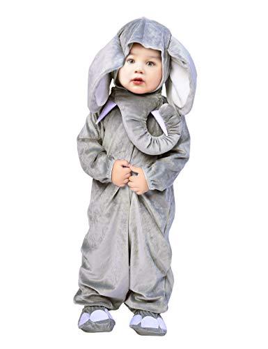 IKALI Baby Jungen Mädchen Tier Kostüm, Elefant Strampler Overall, Onesie Pyjamas Nachtwäsche Outfit - Elefanten Nase Kostüm