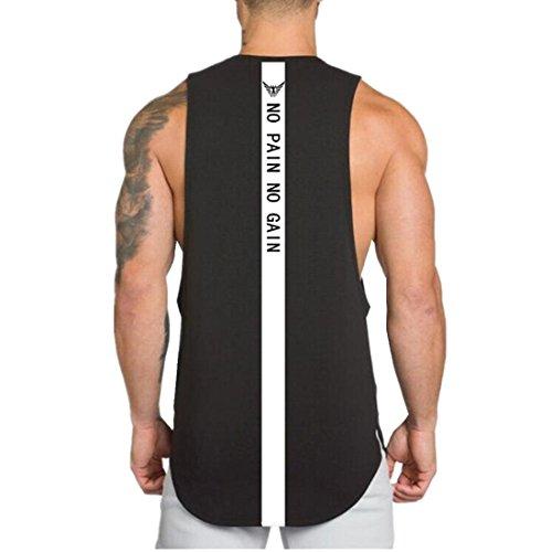 YeeHoo YeeHoo Herren Back NO Pain NO GAIN Cut Off Muskelshirt Tank Top für Fitness & Bodybuilding Baumwolle