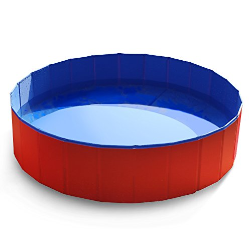 Fuloon Hundepool Tragbar Planschbecken Schwimmbecken für Hunde Katzen Haustiere Badewanne (XL-120*120*28cm, Blau)