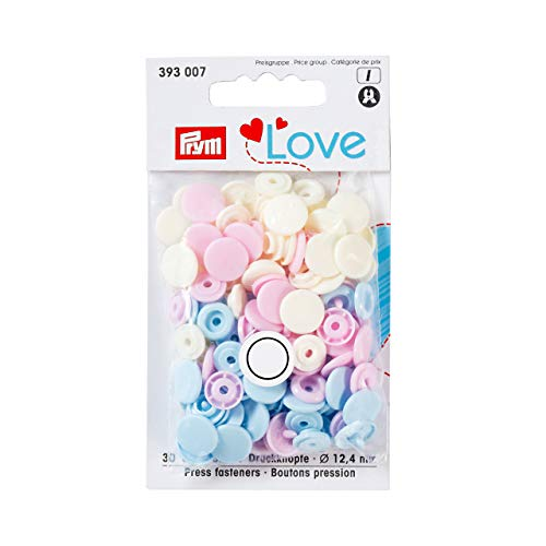 Prym 393 007 LOVE Druckknöpfe  rosa,hellblau,perle Polyester-snap