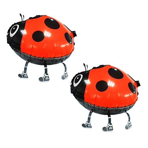 STOBOK 2 stücke Niedlichen Käfer Wandern Tier Ballons Aluminiumfolie Air Wanderer Ballons Party Supplies Dekorationen Kinder Spielzeug (Rot) (Benutzerdefinierte Ballons Geburtstag)
