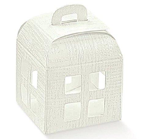 10 scatole confezione regalo lanterna bomboniera matrimonio 8 x 8 x 10.5 cm tela bianca