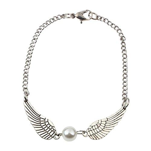 Sunnywill Silber Infinity Engelsflügel Retro Perle Schmuck Taube Frieden Armband für Mädchen Frauen Damen (Infinity-armband Yoga)