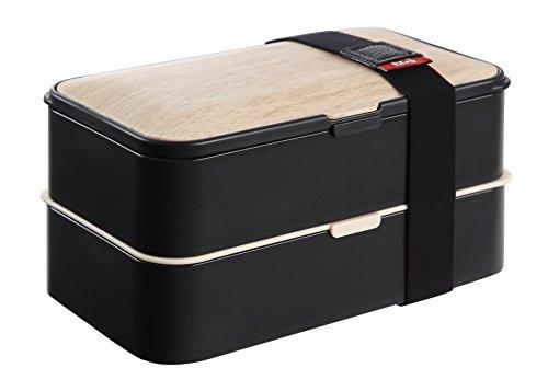 PuTwo Bento Box Fiambreras Bento Caja Bento Caja Almuerzo de 2 Niveles con Juego de Cubiertos Box Lunch a Prueba de Fugas Microondas, Congelador, Apto para lavavajillas - 1200 ML, Negro de Bambú