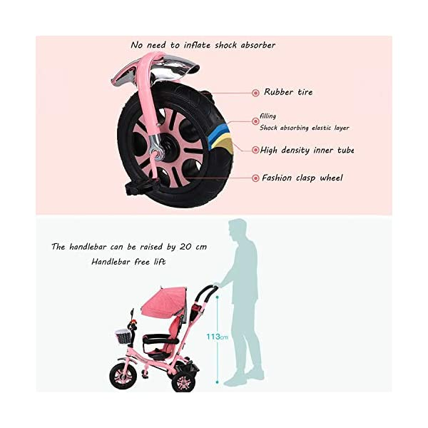 BGHKFF 4 In 1 Children's Hand Push Tricycle 6 Months To 6 Years 2-Point Safety Belt 360° Swivelling Saddle Children's Pedal Tricycle Folding Sun Canopy Childrens Tricycles Maximum Weight 25 Kg,Pink BGHKFF ★Material: Steel frame, suitable for children from 6 months to 6 years old, the maximum weight is 25 kg ★ 4 in 1 multi-function: can be converted into a stroller and a tricycle. Remove the hand putter and awning, and the guardrail as a tricycle. ★Safety design: Golden triangle structure, safe and stable;2 point seat belt + guardrail; rear wheel double brake 7