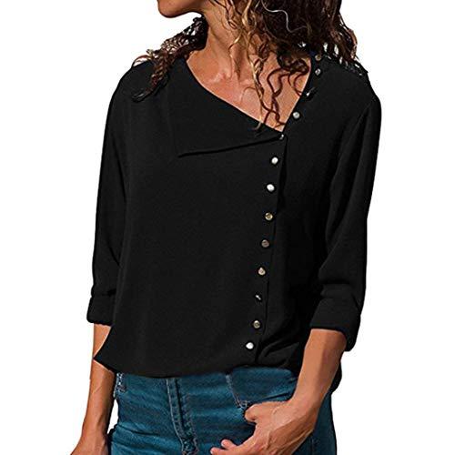TianWlio Langarm Bluse Damen Frauen Mode Lässige Mode Lässige Revers Neck T-Shirt Damen Langarm...
