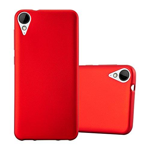 Cadorabo Hülle für HTC 10 Lifestyle/Desire 825 - Hülle in METALLIC ROT - Handyhülle aus TPU Silikon im Matt Metallic Design - Silikonhülle Schutzhülle Ultra Slim Soft Back Cover Case Bumper