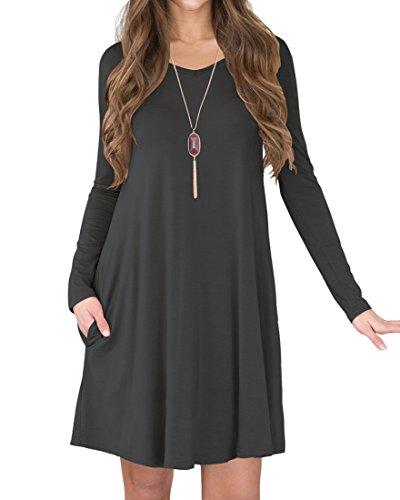 S/s T-shirt Kleid (VIISHOW Damen Basic Langarm Casual Lose T-Shirt Kleid (Dunkelgrau M))