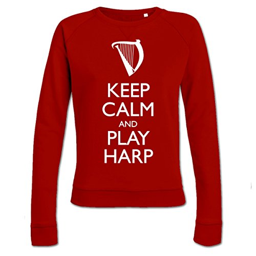 keep-calm-and-play-harp-frauen-sweatshirt-by-shirtcity