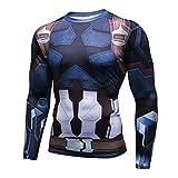 COLLSSY Calzamaglia A Maniche Lunghe Captain America Uomo Avengers 3D Casual Sports Abbigliamento da Allenamento Ad Asciugatura Rapida,KJ1,M