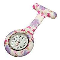 Souarts Womens Nurse Clip on Fob Brooch Pendant Watch Floral Rubber Hanging Pocket Fob Watch 1pc