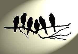 pochoir shabby chic 6 oiseaux sur une branche rustique vintage en mylar a4 297 x 210 mm. Black Bedroom Furniture Sets. Home Design Ideas