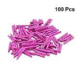 LIOOBO 100 stücke Mini Holznägel Fotopapier Craft Clips Holz Wäscheklammer Rose Red