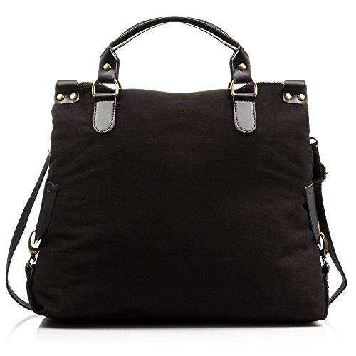 FIRENZE ARTEGIANI Tasche Einkaufstasche große Frau. Einkaufstasche Premium-Leinwand. Umhängetasche. Schultertasche. Made in ITALY. VERA PELLE ITALIANA 40x37x14 cm. Farbe: SCHWARZ -