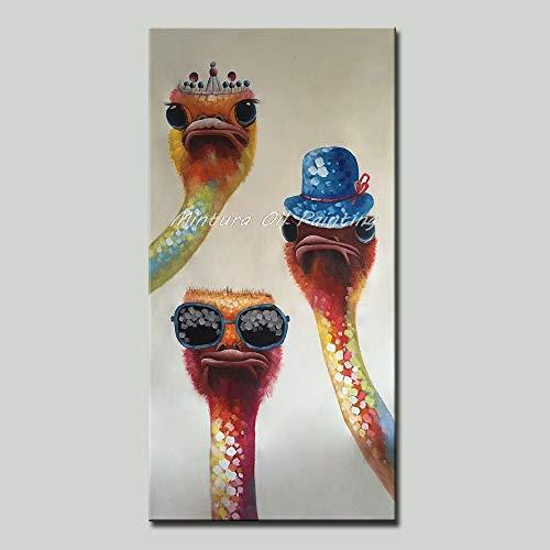 Vogel Leinwand Kunst (WunM Studio Ölgemälde Auf Leinwand Handgemalt,Große Größe Abstrakte Malerei, Tier Strauß Vögel Mit Brille Hat Und Krone,Modernen Kunst Dekor Für Home Eingang Wohnzimmer Schlafzimmer Büro Erwachsene)