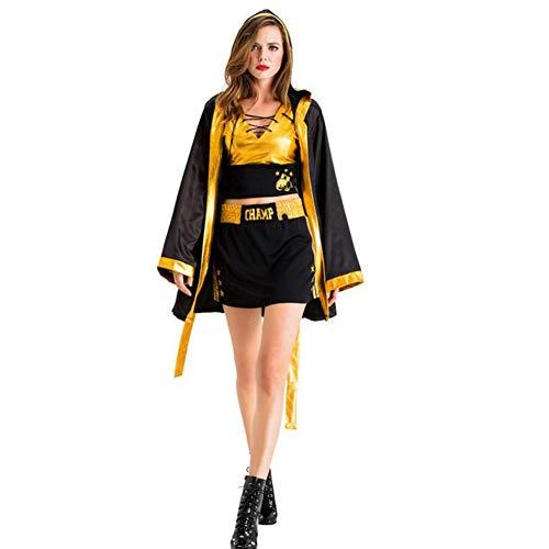 Kostüm Boxer Weibliche - ZYJP Halloween-erwachsenes weibliches Krieger-Robe-Verpackenkleid-Boxer-Kostüm-weibliches Kap-Mantel-Kostüm,Black-S