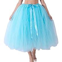 4d45470252 VJGOAL Mujer Verano Moda Casual Color sólido Malla Arco con Cordones Tutu  Falda Dama de Honor
