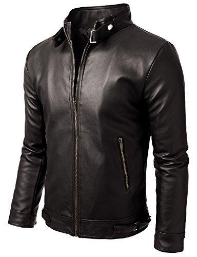 Iftekhar Men's Pure leather Jacket - Black - (Iftekhar09 - M)