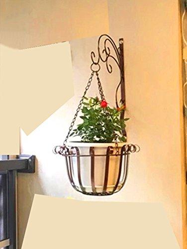 Schmiedeeisen Blatt Wand (Europäischen Stil Eisen Wand hängende Blumentöpfe, grüne Blatt Wand hängende Blume Rahmen hängende Wand Wand Innen Balkon hängende hängende Orchidee (Farbe : Bronze))