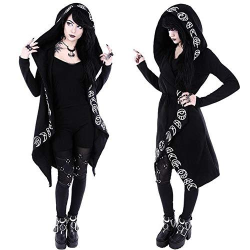 mAjglgE Damen Plus Size Gothic Moon Print Hoodies Strickjacke Halloween Mit Kapuze Langer Mantel Black XXXXL