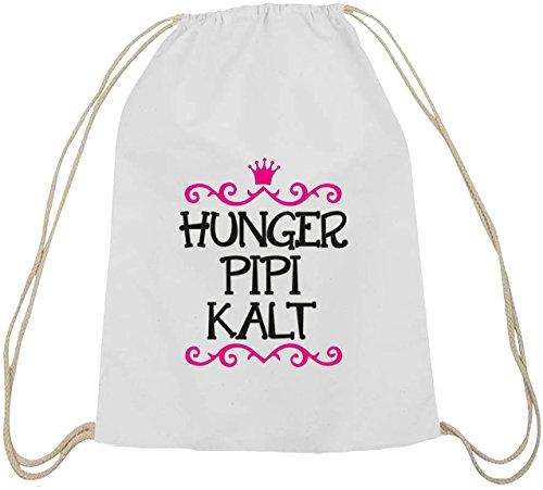 Shirtstreet24, Hunger Pipi Kalt, Prinzessin Baumwoll natur Turnbeutel Rucksack Sport Beutel weiß natur