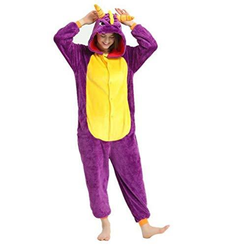 Unisex Pyjamas Erwachsene Tier Onesies Flanell Cartoon Tier Einteilige Pyjamas Männer und Frauen zu Hause Liebhaber Niedlich Performance Kleidung, Golden_flower, Lila Drache, (Kostüm Frauen Zu Hause)
