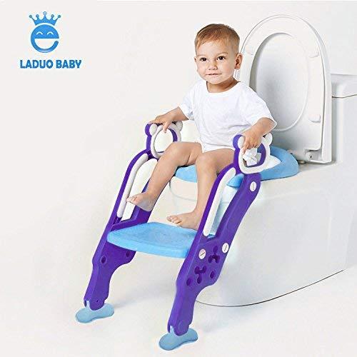 LADUO Riduttore WC per Bambini con Cuscino Morbido Sedile per Toilette con Scaletta Regolabile Antiscivolo Pieghevole per ragazzo e ragazza