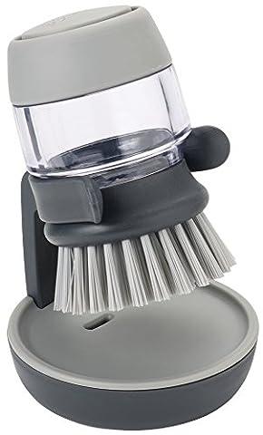 Joseph Joseph Palm Scrub Soap Dispensing Washing-Up Brush with Storage Stand - Grey