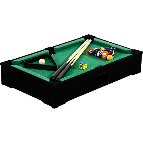 Mini Pool Billardtisch Nano inkl. Zubehör (2 Queues, Kugeln, Dreieck, Kreide), 3 Dekore, Maße: 51x31x10cm