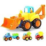 GoStock Indoor Kunststoff Spielzeugauto 4 Baufahrzeuge in Einem Set Pull Back and Go LKW Spielzeug ab 1 bis 3 Jahren, Colorful