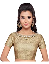 4a7f529be92 STUDIO SHRINGAAR WOMEN S GOLDEN BROCADE SAREE BLOUSE WITH STONEWORK NECKLINE  AND SHORT SLEEVES