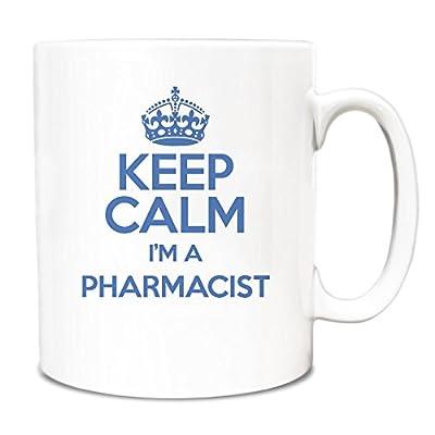 Azul Keep Calm I 'm farmacéutico taza TXT 3432