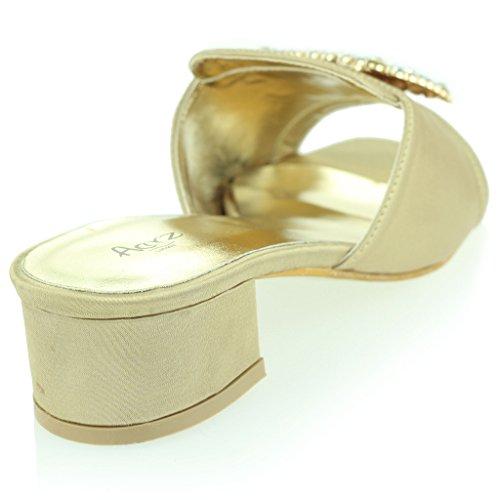Femmes Dames Broche Détail Diamante Enfiler Talon De Bloc Soir Casual Fête Des Sandales Chaussures Taille Or