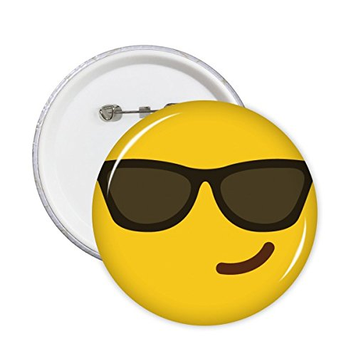 Sonnenbrille Cool gelb Cute Lovely Online-Chat Emoji-Illustration Pattern Rund Pin Badge Button 5 x, share00013498f534-S
