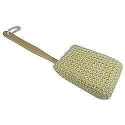 Acqua Sapone Natural Sisal Sponge Bath Body Back Brush with Wood Handle