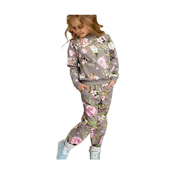 Heetey - Top para niña de Manga Larga, Estampado de Flores, Sudadera, pantalón, Lazo, Sudadera, Vestido de Fiesta, Boda… 1