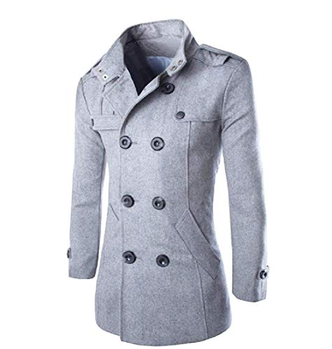 CuteRose Men Classic Double Breasted Fall Winter Parka Hoodie Jackets Coat Light Grey L (Double Breasted Pea Coat Dress)