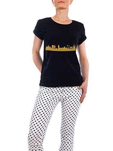 """Design T-Shirt Frauen Earth Positive """"BARCELONA GOLD Print Love"""" - stylisches Shirt Städte Städte / Barcelona Reise Architektur von 44spaces Schwarz"""