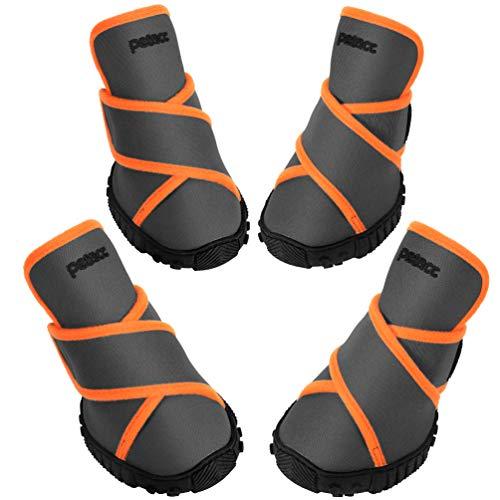 Petacc Botas para Perros Zapatos Impermeables para Perros Zapatos para Exteriores con Suela Antideslizante Resistente, 4 Piezas (M, Gris)