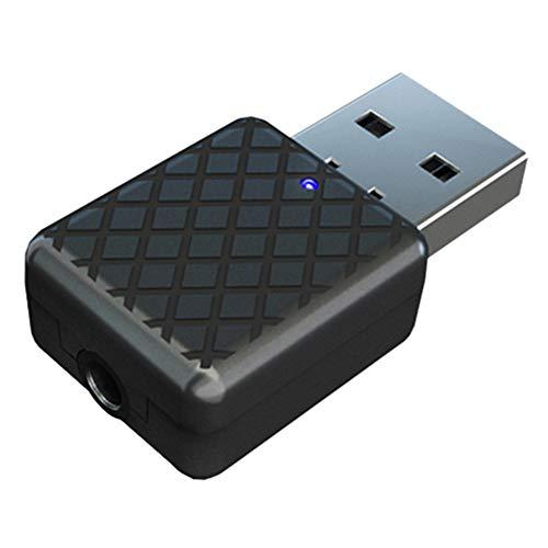 Crazystore 2-in-1 USB Bluetooth 5.0 Empfänger und Transmitter Set mit 3,5 mm Schnittstelle für Auto, Fernseher und PC, Heimkino, kabelloser Audio-Adapter mit geringer Latenz für Lautsprecher, Headsets Batterie-powered-headset