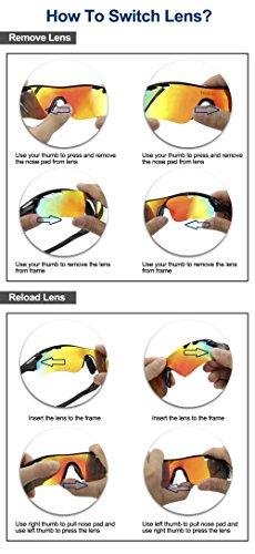 Duco Polarisierte Fahrradbrille Radfahren Sportbrille Sonnenbrille Schutzbrille 0025 (Grün) - 5