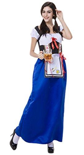 Smile YKK Cosplay Déguisement de Bière Serveur de jeu Costume Halloween Femme Bleu